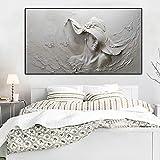 Kunst Leinwand An Der Wand Drucken Hut Muster Leinwand Malerei Abstrakte Mädchen Wanddekoration Malerei (Kein rahmen) R1 20x40 CM
