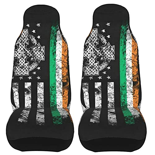 Behergy Irish Celtic Cross American Flag Car Seat Covers Front Seat Covers 2pcs Set Protector Auto Interior Universal Fit Most Car SUV Truck