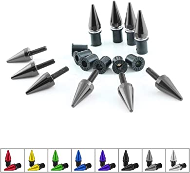 Black Universal Motorcycle Spike Bolts Windscreen Fairings License Plate For BMW