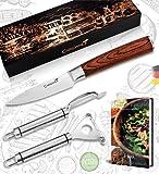 Caridano® Obstmesser Set - 1x Gemüsemesser Holzgriff mit Klingenschutz - 2x...