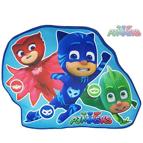 PJ-Masks - Kissen für Kinder, Kuschelkissen für Jungen, 43x30 cm, Dekokissen fürs Kinderzimmer, Auto Kissen