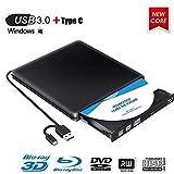 Lecteur Graveur Blu Ray Externe CD DVD 3D, USB 3.0 Portable Lecteur Blu-Ray Slim BD CD DVD-ROM ROM Compatible pour PC Mac OS Windows 7/8 /10 /XP/Linxus