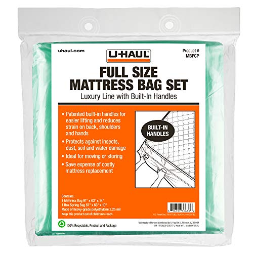 U-Haul Deluxe Full Mattress and Box Spring Bag Set – Moving and Storage Protection Cover – 2.25 Mil – Includes 1 Mattress Bag, 1 Box Spring Bag