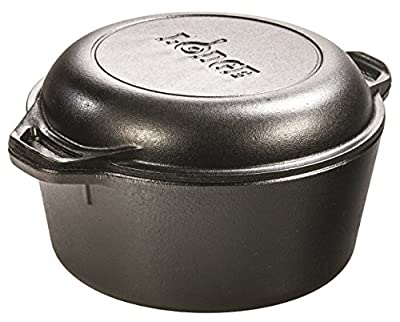 Lodge Pre-Seasoned Cast Iron Double Dutch Oven With Loop Handles, 5 qt