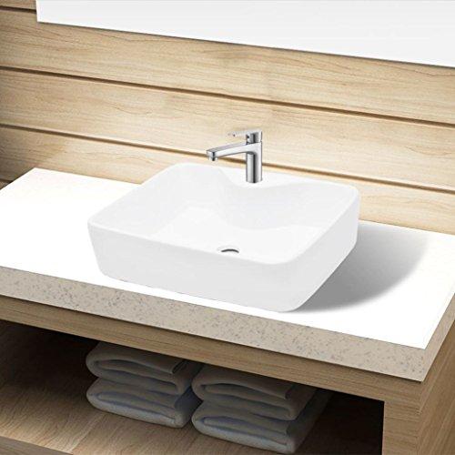 Festnight Vasque pour Salle de Bain en Céramique rectangulaire Lavabo Blanc 480 x 370 x 135 mm