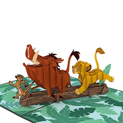 Lovepop Disney der König der Löwen No Worries Dropdown-Karte, Geburtstagskarte, Lion King-Karte, Disney Pop-up-Karte, 3D-Karte