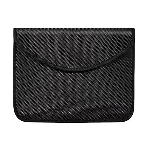 Bolsa de bloqueo de señal RFID, 9.3 x 7.1 pulgadas con blindaje Faraday maletín para la privacidad de datos personales de la tableta (negro)