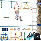Ninja Warrior Obstacle Course Kit for Kids 37 PCS 52' Ninja Line & Slackline Hanging Monkey Bars Fists Gym Rings Swing Rope Ladder Portable Outdoor Ninja Course Training Equipment Set for Backyard