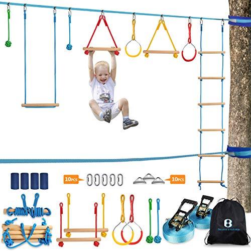 Ninja Warrior Obstacle Course Kit for Kids 37 PCS 52' Ninja Line & Slackline Hanging Monkey Bars Fists Gym Rings Swing Rope Ladder Portable Outdoor Ninja Course Training Equipment Set for Backyard