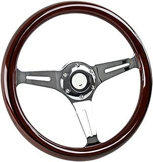 Spec-D Tuning 350mm Sport Racing Chrome 3-Spoke Green Watermelon Wooden Steering Wheel Dish