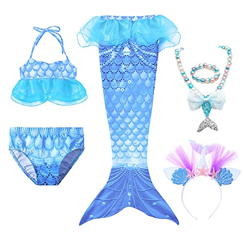 Lazeny 6Pcs Girls Swimsuit Mermaid Tails for Swimming Swimwear Bathing Suit Bikini Set with Headband Necklace Bracelet Mermaid Princess Costume Girls Children Birthday Gift (Blue,2-3 Years,XS)