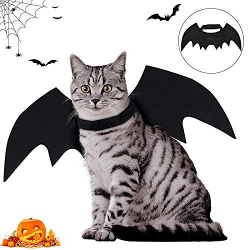 Pet Costume Bat Wings,Pet Halloween Bat Wings Disfraz,Halloween Disfraz para Gatos Perros,Disfraces de Animales Halloween,Disfraz de Murciélago para Perro Gato,Halloween Pet Dog Costume (negro)