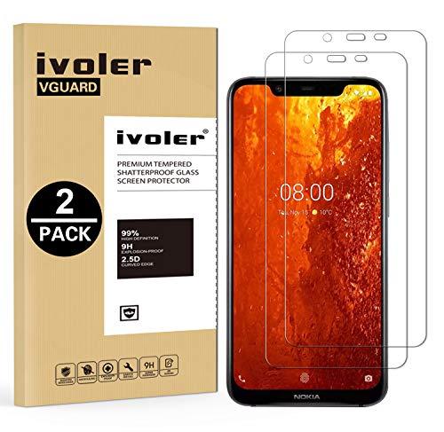 VGUARD [2 Stücke] Panzerglas Schutzfolie für Nokia 8.1, Panzerglasfolie Folie Bildschirmschutzfolie Hartglas Gehärtetem Glas BildschirmPanzerglas Bildschirmschutz