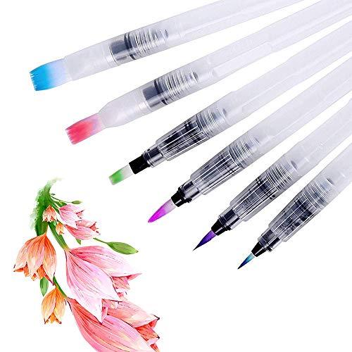 JOJYO Wasser Pinsel Stifte Set, 6 Stück Wasserpinsel Stifte Wasserpinsel Aquarellfarben Pinselstifte Wassertankpinsel Marker für Aquarell Malerei Kalligraphie Make-up