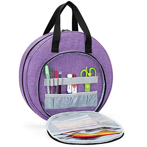 CURMIO Bolsa de bordado, bolsa de transporte portátil circular para kit de herramientas de punto de cruz y proyecto de bordado, bolsa de almacenamiento de suministros de bordado, solo bolsa, Púrpura