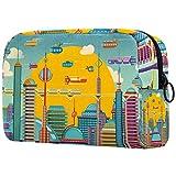Bolsa personalizada para brochas de maquillaje, bolsa de aseo portátil para mujeres, bolso cosmético, organizador de viaje, ciudad futurística en color