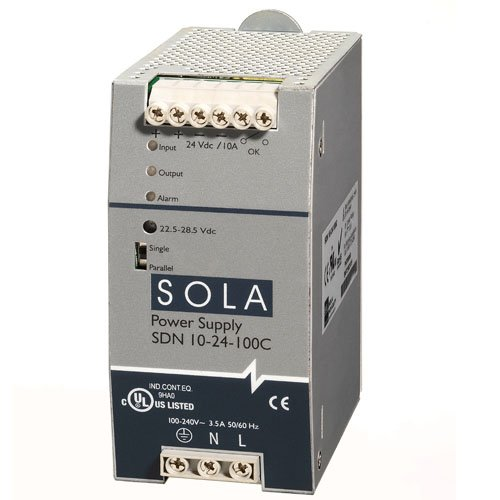 Sola/Hevi-Duty SDN10-24-100P DC Power Supply, 24 VDC, 10 Amp, 47-63 Hz