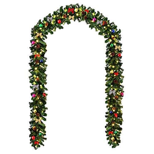 Baunsal GmbH & Co.KG Weihnachtsgirlande Tannengirlande Girlande grün 5 m mit bunter Dekoration und Lichterkette mit Micro LEDs und Fernbedienung
