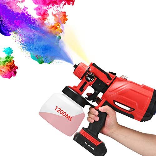 Elektro Lackierpistole 1200 ml mit Licht,Elektrisches Farbsprühsystem mit 3 Sprühmodi,Elektrische Farbspritzpistol für Lacke & Wandfarbe,18V 2000mAh