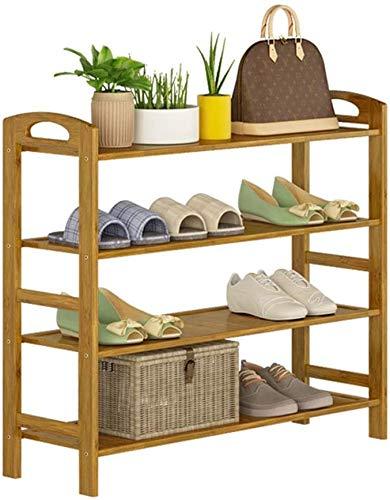 ZouYongKang Tallera de zapatos de 4 niveles, estante de zapatos ajustable, ahorro de espacio Organizador de almacenamiento de zapatos, fácil de montar, organizador de estantería de zapatos de bambú pa
