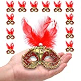 Yiseng Masquerade Mini Mask Party Decorations 12pcs Feather Small Mask Luxury Pearl Mardi Gras Decor Red