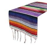 ZIRAN 35x213cm Manta Mexicana Rayas arcoíris Brillantes Camino de Mesa Tejido con Flecos Mantel de algodón Fiesta del Festival Decoración de la Mesa en casa Camino de Mesa-Algodón