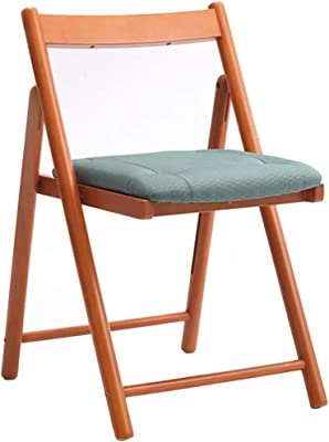 Folding Chairs Portable Chair, Rubber Wood Creative Dining Chair, Home Backrest Folding Chair, Simple Portable Leisure Chair, Can Bear 130kg (Color : Green, Size : 42 * 53 * 70CM)