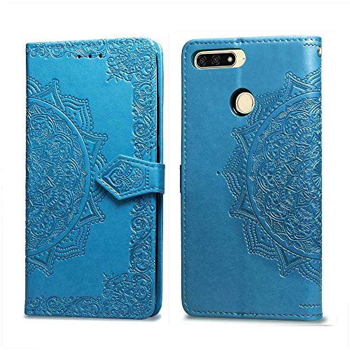 Bear Village Hülle für Huawei Honor 7A Pro, PU Lederhülle Handyhülle für Huawei Honor 7A Pro, Brieftasche Kratzfestes Magnet Handytasche mit Kartenfach, Blau