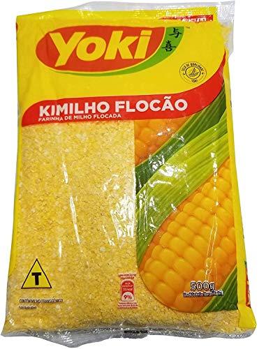 Kimilho Flocão, YOKI, flocons de maïs de spécialité brésilienne sans sel pour Cuscuz, sachet 500 g