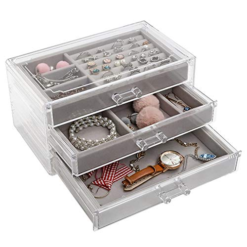 Cyleibe Jewellery Storage Box, Jewellery Boxes with 3 Drawers for Women, Jewellery Organiser, Jewellery Storage Case Box Organizer for Earrings Rings Necklaces Bracelets
