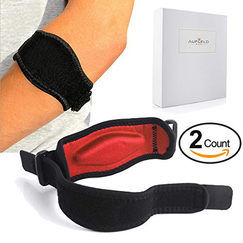 Aufgeld Tennis Elbow Brace (2-2 Pack) with Compression Recovery Pad for Men Women Best Tennis Golfer's Elbow Support Strap Band Relieves Tendonitis Epicondylitis Forearm Pain Relief, Wrist Sweatband