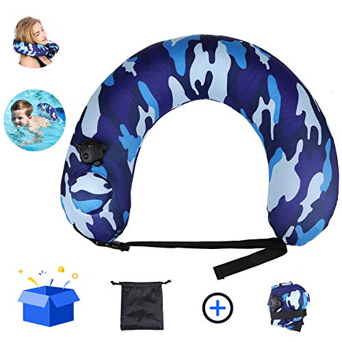 Cocopa Portable Swim Trainer Swimming Belt for Kids Adults,Inflatable Neck Pillow for Airplane Travel, Life Belts Kickboard for Kids Flotation Device Back Neck Float Pool Float Blue