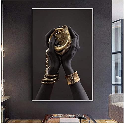 Mujeres africanas Mano negra con joyas de oro Pinturas en lienzo Arte de la pared Carteles e impresiones Imágenes para la decoración de la entrada de la sala de estar-40X60cm-16x24inch Sin marco