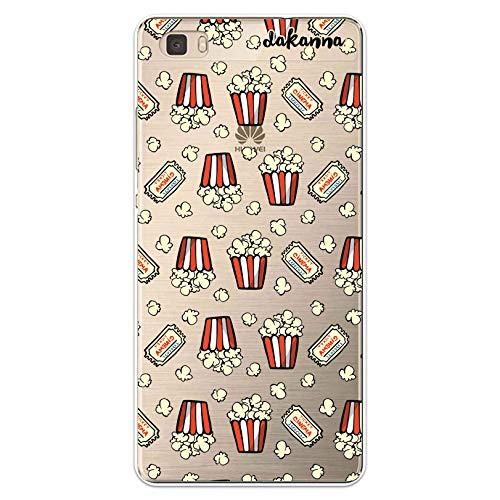 dakanna Funda para [Huawei P8 Lite] de Silicona Flexible, Dibujo Diseño [Patron de Palomitas y entradas de Cine Vintage], Color [Fondo Transparente] Carcasa Case Cover de Gel TPU para Smartphone
