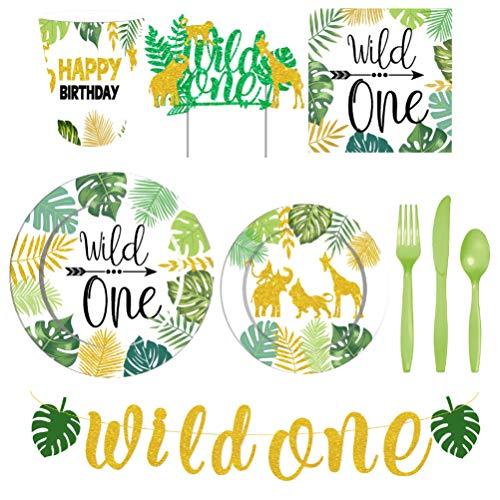jojofuny Juego de vajilla desechable de 98 piezas Wild One Party, incluye platos de papel, servilletas de papel, vasos de papel, cuchillos, panaderos, tenedores para tartas para niños