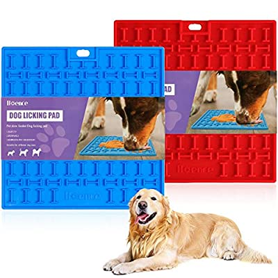 Pet Slow Feeder Lick Mat, Dog & Cat Training Licking Mat for Reducing Boredom Anxiety Relief, Perfect for Food, Treats, Yogurt, Peanut Butter, Slow Dispensing Treat Mat(Blue&Red)