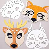 Baker Ross AW909 Waldtiere zum Ausmalen in Masken (8 Stück) – Kunst und Basteln für Kinder