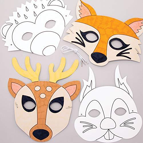 Baker Ross Mscaras Animales del Bosque para Colorear (Paquete de 8) - Artes y Manualidades para Nios