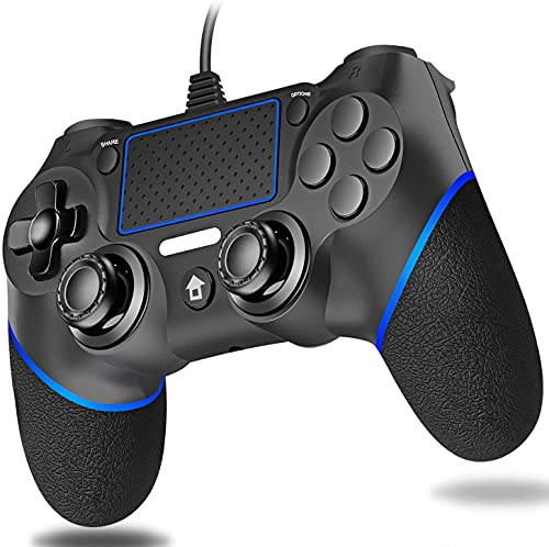 Lunriwis Mando para PS4,mandos ps4/Pro/Slim/PC con Cable para USB, Doble vibración, Antideslizante Bluetooth Gamepad Controlador para Playstation 4