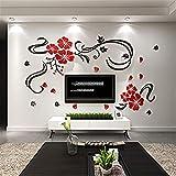 Etiqueta de pared universal Mural de decoración de Flor Vid Pegatinas de pared Dormitorio Fondo DIY Arte Acrílico Cristal de pared Decoración de la pared Sofá Decoración de la habitación Decoración de