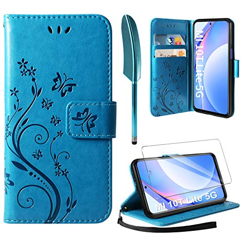AROYI Lederhülle Kompatibel mit Xiaomi Mi 10T Lite 5G / Xiaomi Redmi Note 9 Pro 5G Hülle & Schutzfolie, Flip Wallet Handyhülle PU Leder Tasche Hülle Kartensteckplätzen Schutzhülle