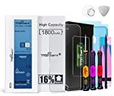 Trop Saint® Batería Interna para iPhone 5S/ 5C - Alta Capacidad (1800mAh/3,82V) 16% más de Carga - con Instrumentos, Pegatinas Adhesivas y Vidrio Templado