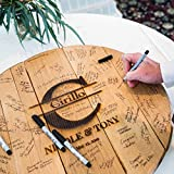 WhiskeyMade Personalized Wedding Guestbook Alternative - Solid Wooden Centerpiece Made from a Real Bourbon Whiskey Barrel Head - Beautiful Decoration for Weddings - Made in The USA (Big Letter)