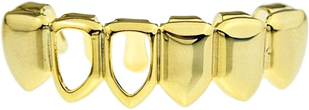 Bottom Grillz Right Two Open Face 14k Gold Plated Lower Teeth Hip Hop Six Tooth Grills