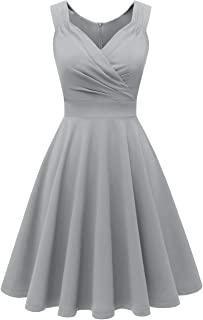 Women's Vintage 50s V-Neck Sleeveless Cross Wrap Cocktail Skater Swing Dress