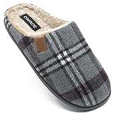 COFACE Zapatillas de Estar en Casa Hombre Tartán Invierno Cálido Forro de Felpa Pantuflas Alta Densidad Espuma de Memoria Zapatos con Antideslizante Suela Tallas 42