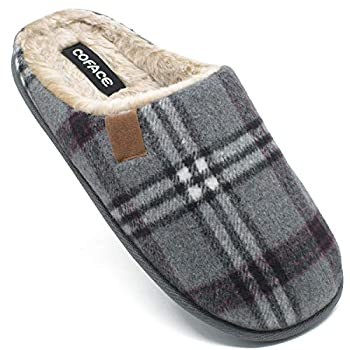 COFACE Mens Grey Flano Plaid Cozy Memory Foam scuff Slippers Slip On Warm House Shoes Indoor/Outdoor With Best Arch Surpport Size 9