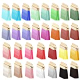 EuTengHao 150Pcs Leather Tassels Keychain Tassels Charms Rings Bulk for Sewing DIY Crafts Key Rings Craft Supplies,Acrylic Keychain Blanks for Decoration Necklace Jewelry Making (5mm,30 Colors)