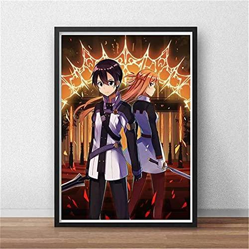 LGYJAL Schwert Art Online Kirito Asuna Poster Und Drucke Japan Videospiel Anime Leinwand Malerei Wandkunst Bilder Für Wohnzimmer Dekor 50x70 cm(19.68x27.55 in) A-1115