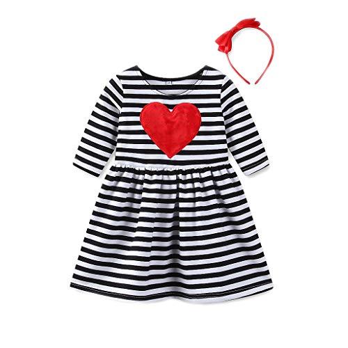 TIFIY Prinzessin Kleid Valentinstag Mädchen Herz gestreift Dress Sundress Outfits Kids Baby Kleidung(Schwarz,6T)